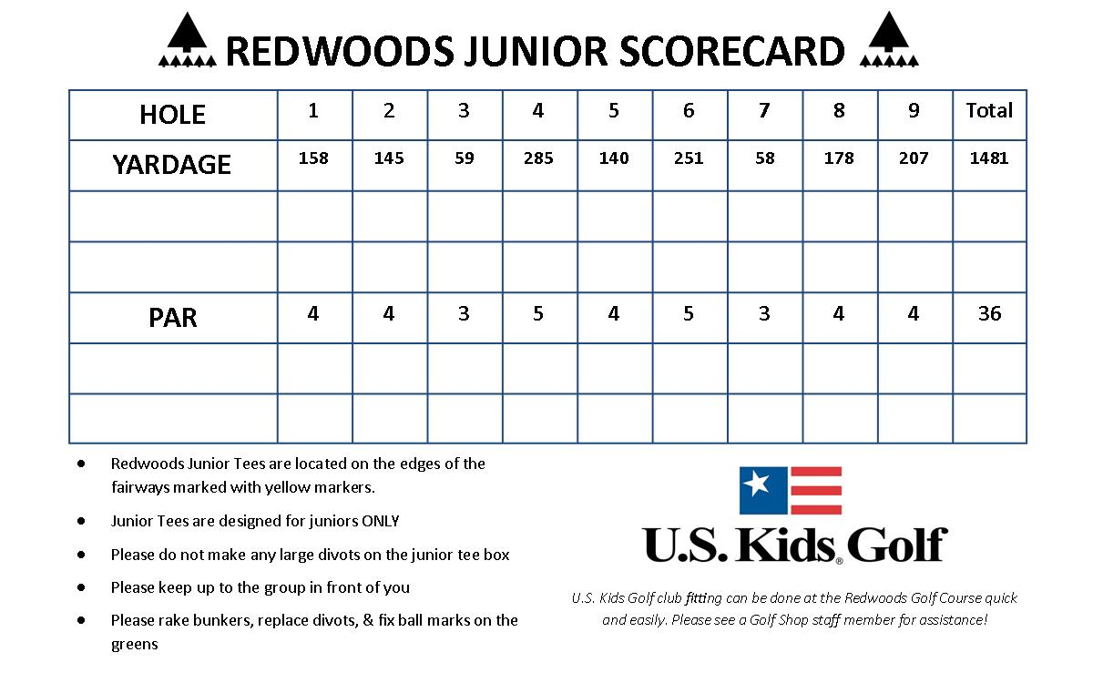 Redwoods Golf course Junior Scorecard