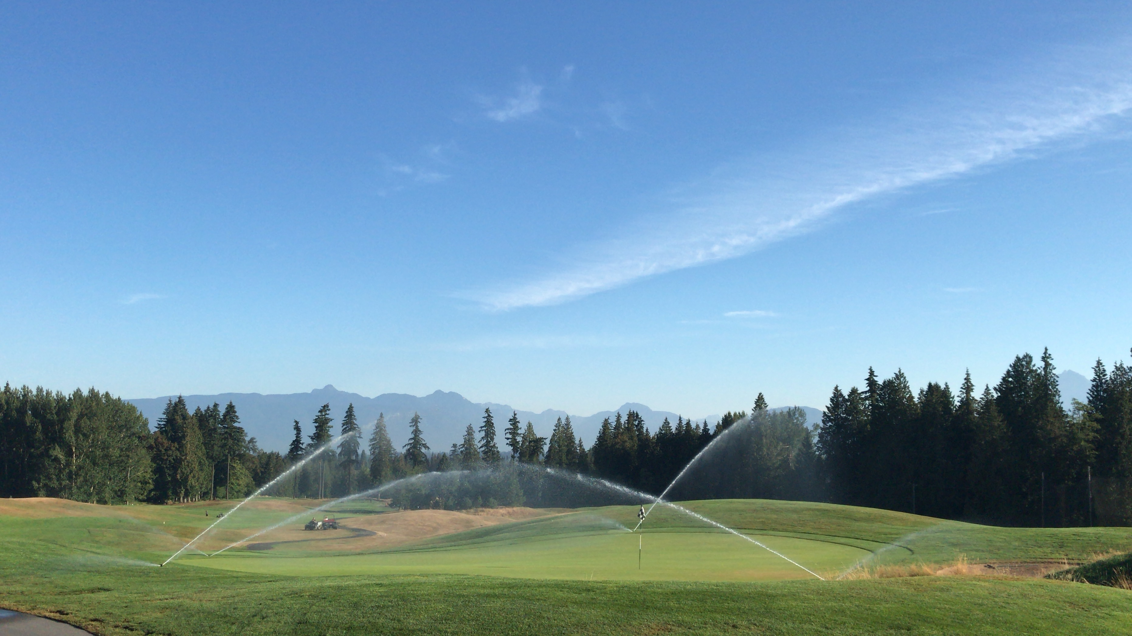 #18 green at redwoods golf course getting watered in August 2018
